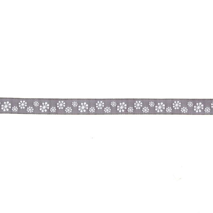"5/8"" Sue Spargo Snowflakes Ribbon Pearl Grey"