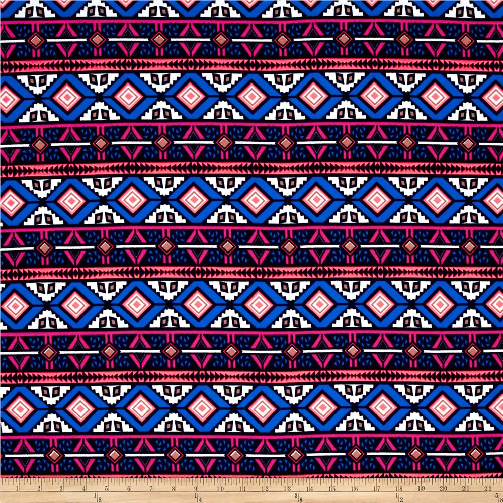 Liverpool Double Knit Print Aztec Blue/Pink/Neon Coral/White