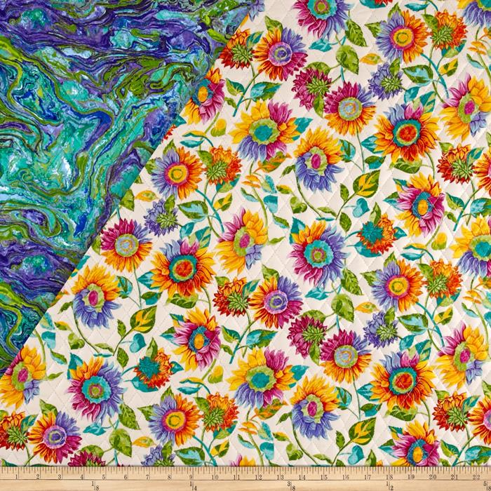 Marblehead Double Sided Quilted Sunflower Ecru