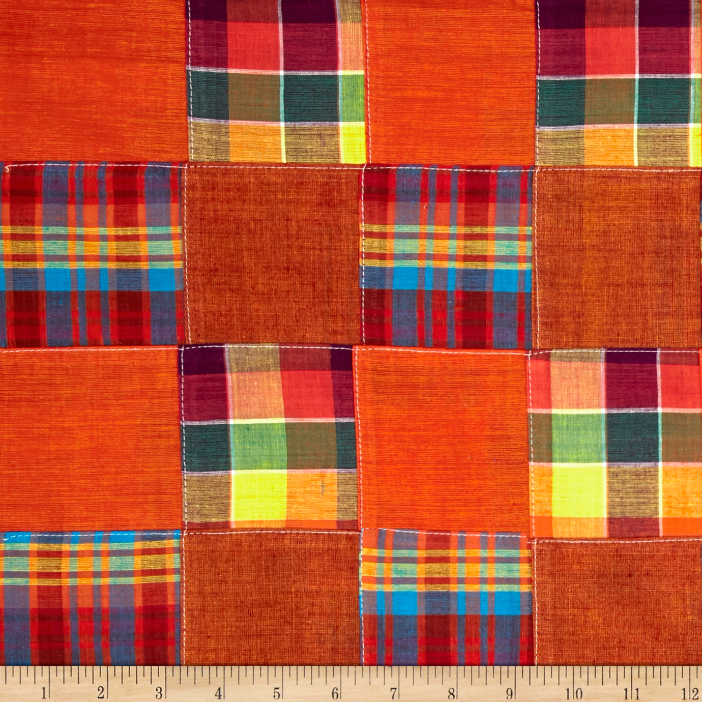 Madras Plaid Patchwork Orange Fabric by Textile Creations in USA