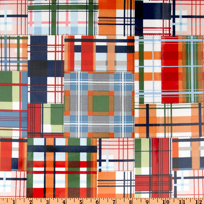 Michael Miller Laminated Cotton Patchwork Plaid Multi Fabric