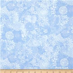 "44"" Wide Quilt Packed Floral Blue"