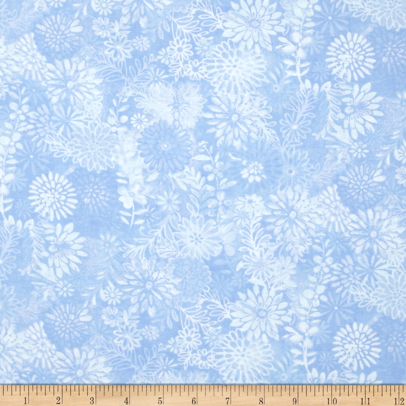 44'' Wide Quilt Packed Floral Blue Fabric by Santee in USA