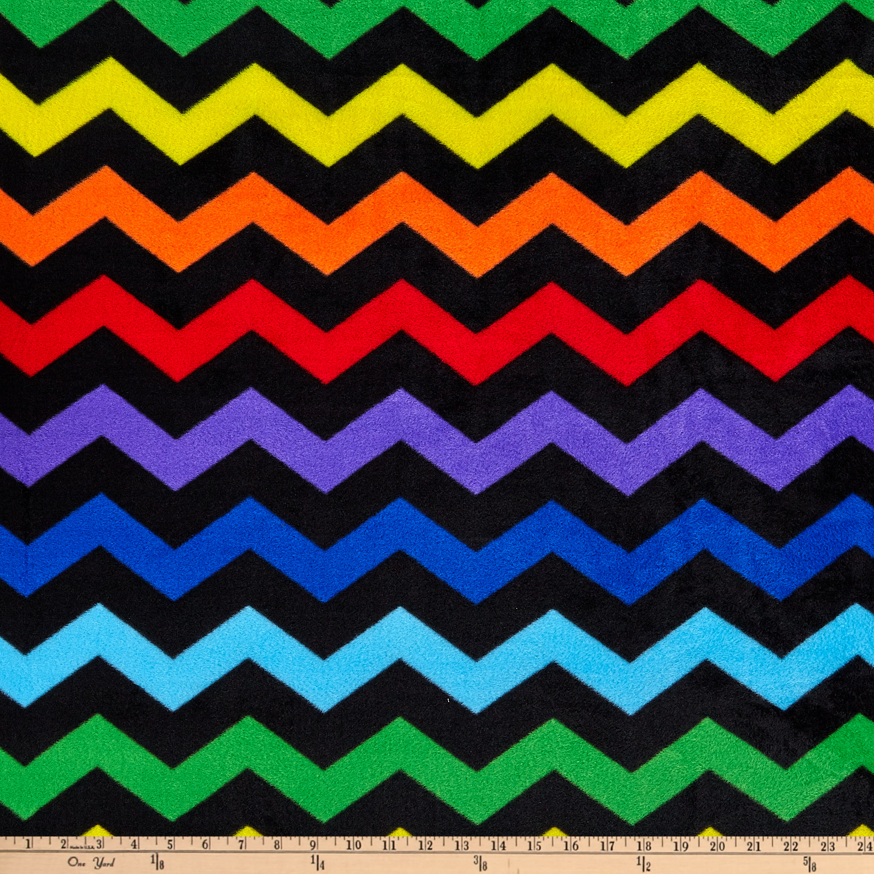 Winter Fleece Chevron Black Fabric