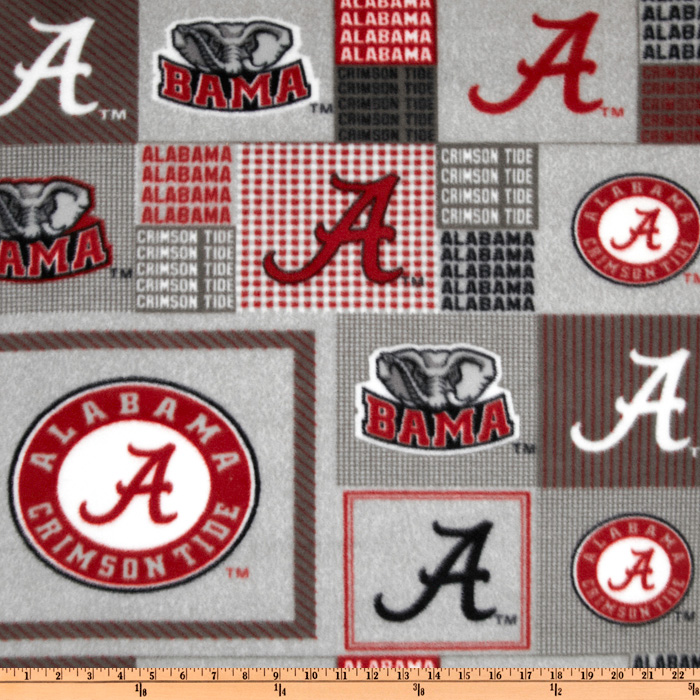 Collegiate Fleece University of Alabama Plaid Blocks Fabric