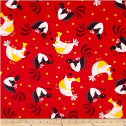 Metro Market Chickens Red Fabric