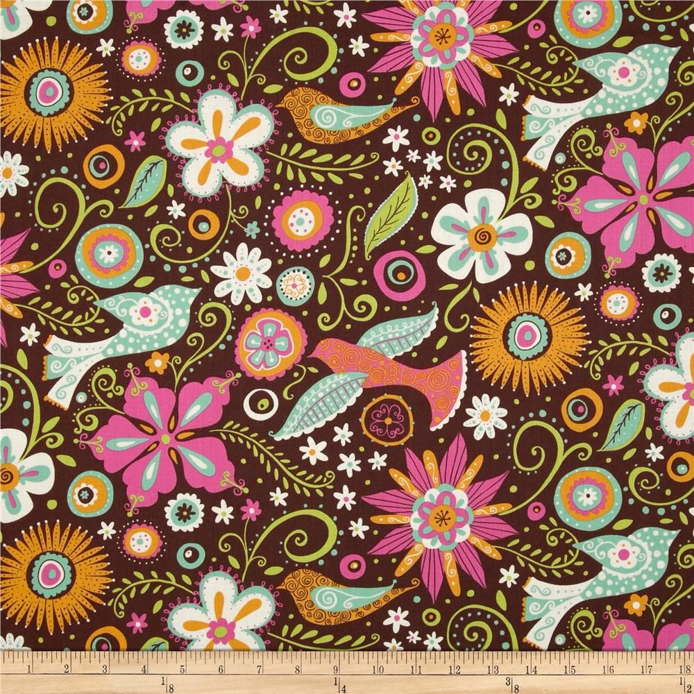 Lily Floral & Birds Brown
