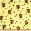 Comfy  Flannel Bees & Beehives Yellow