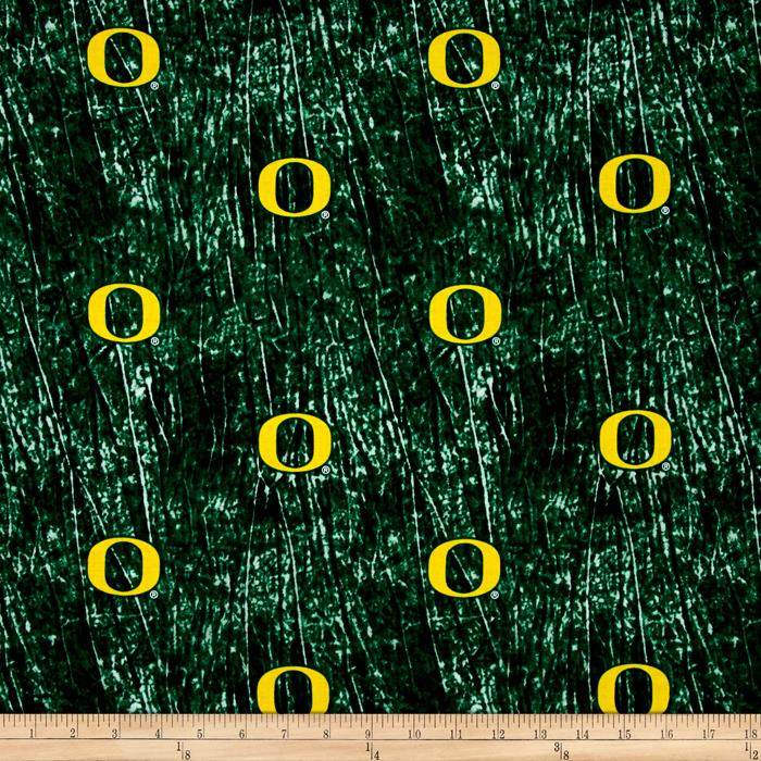 Collegiate Cotton Broadcloth University of Oregon Tie Dye Print Green Fabric By The Yard