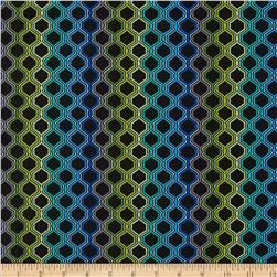 Moderne Geo Grid Blue Fabric