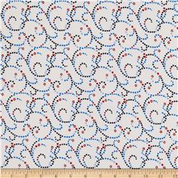 "Americana Swirl 108"" Wide Back White/ Multi"