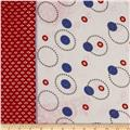 Crinkle Chiffon Glitzy Circles Double Border Red/Blue