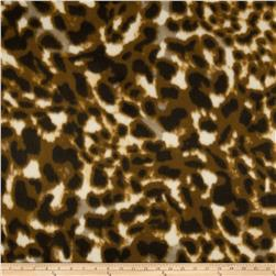 Skin Fleece Print Leopard Brown/Black/Cream Fabric