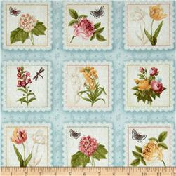Botanical Labels Flower Squares Light Blue