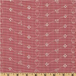 Embroidered Gingham Eyelet Red/White