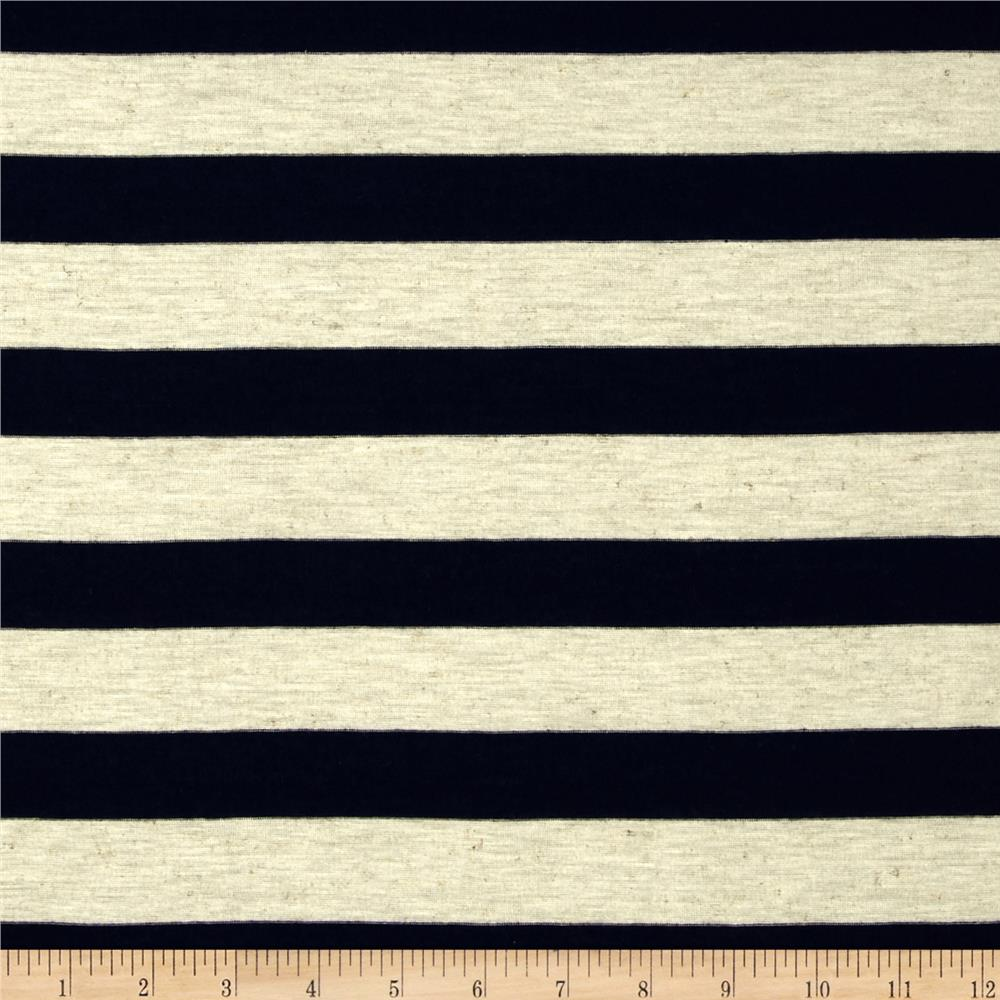 Yarn Dyed Jersey Knit Stripe Navy/Heather Ivory