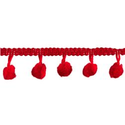 3/4'' Pom Fringe Trim Red