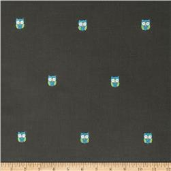 Embroidered 21 Wale Corduroy Owl Graphite/Blue