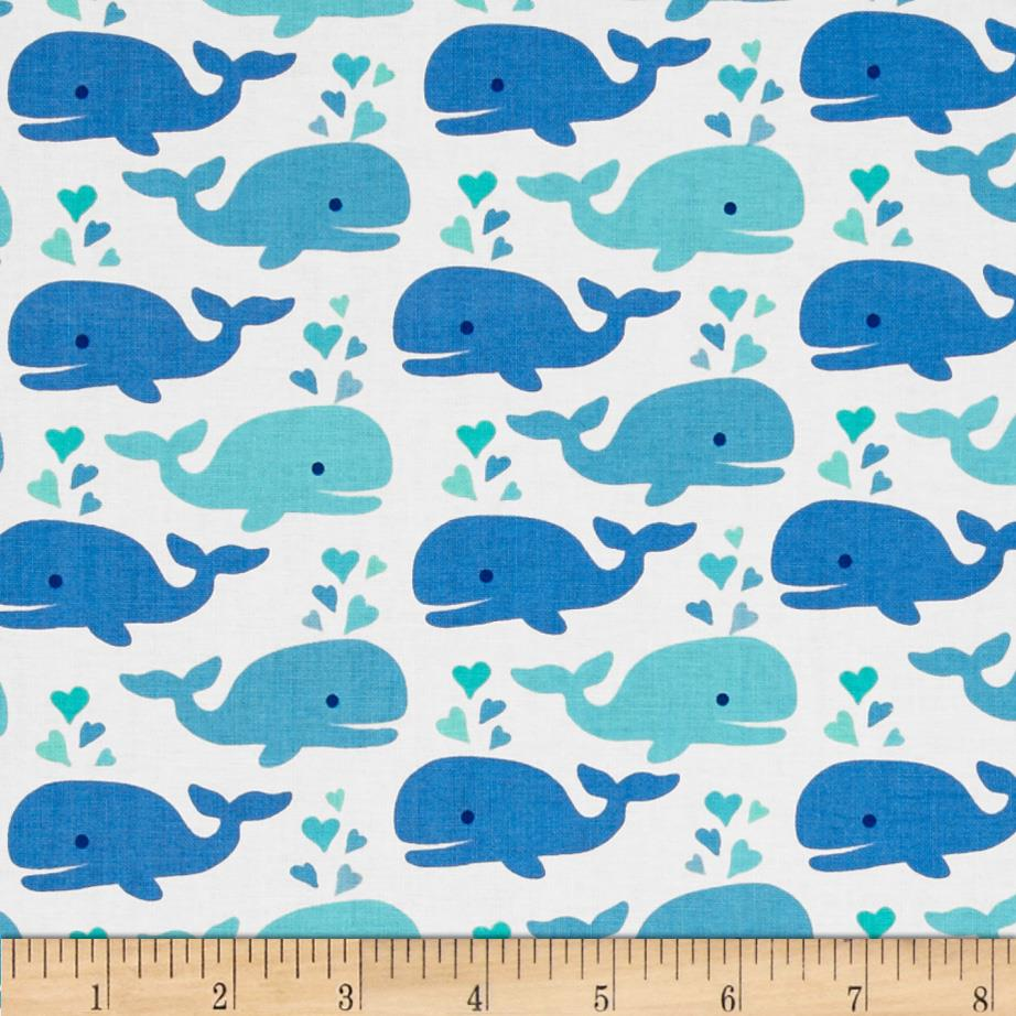Timeless treasures cute whales white discount designer for Cute baby fabric prints