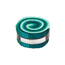 "Robert Kaufman Kona Solids Lush Lagoon 2.5"" Jelly Roll"