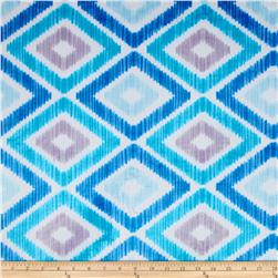 Minky Ikat Diamond Blue Fabric