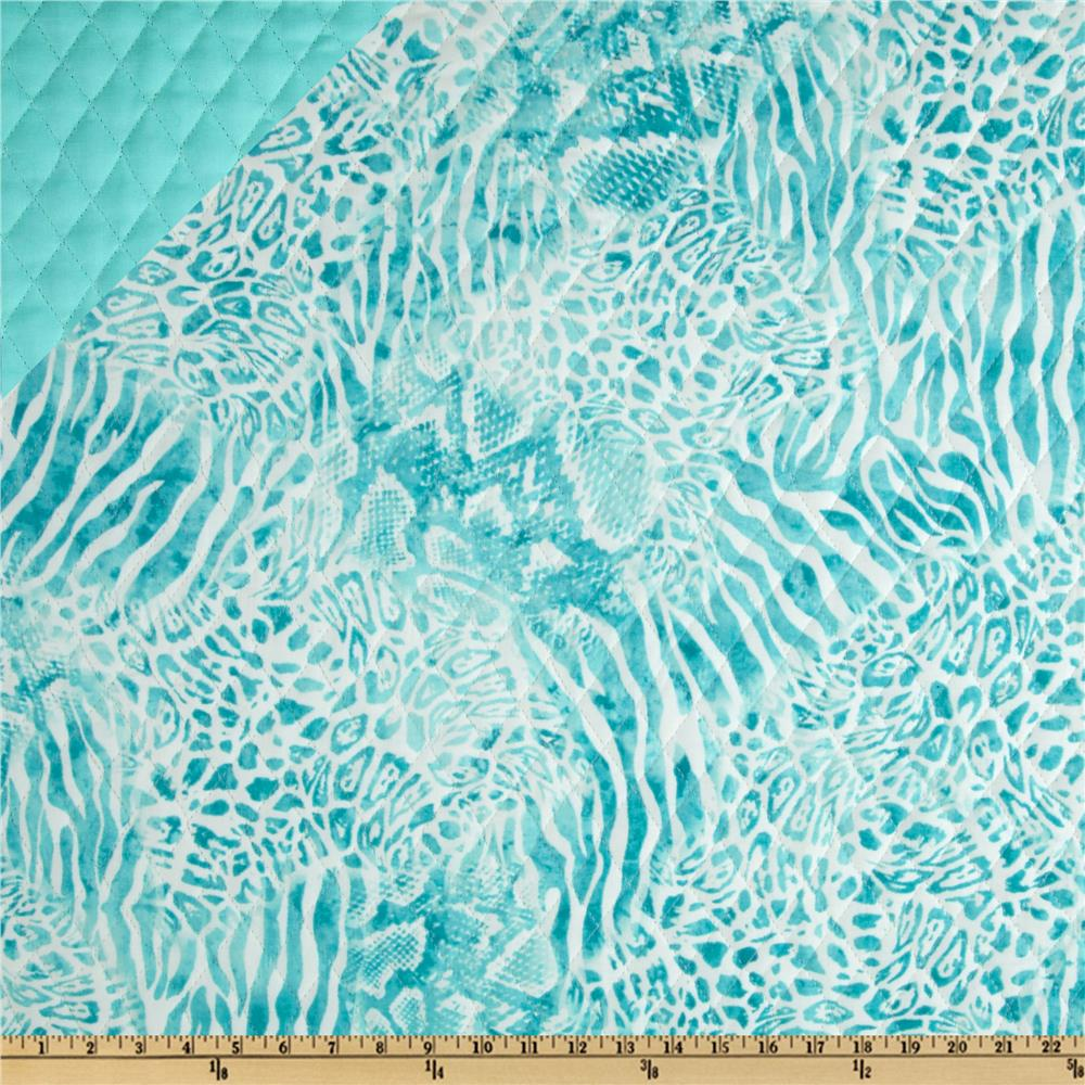 Double Sided Quilted Animal Skin Turquoise