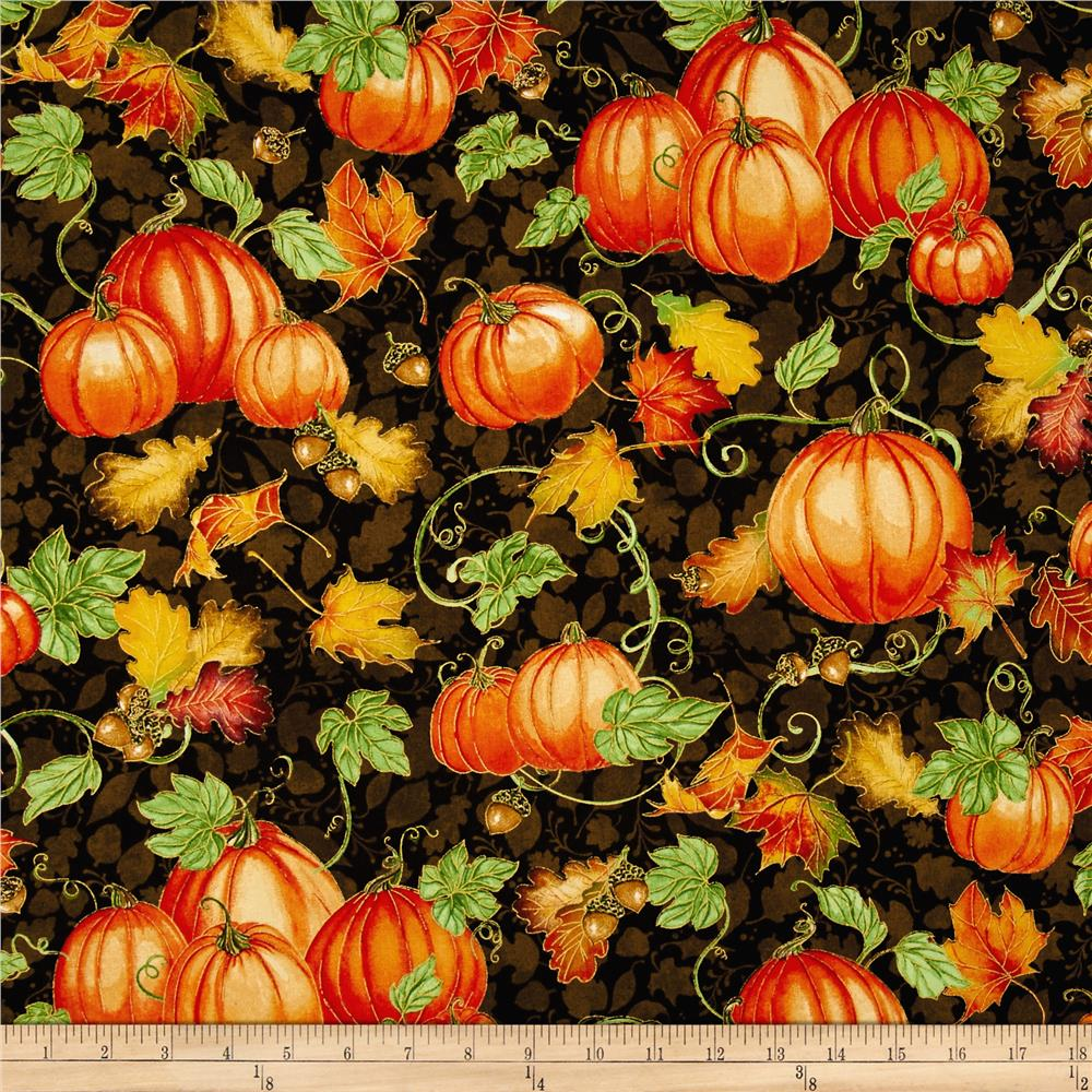Harvest Bounty Pumpkin & Leaves Brown