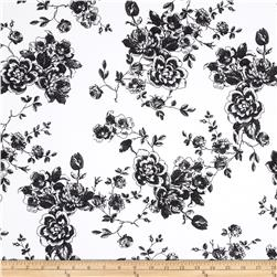 Stretch Poplin Floral Bouquets Black/White