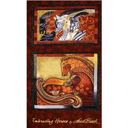 "Laurel Burch Embracing Horses Metallic 24"" Panel Brick"
