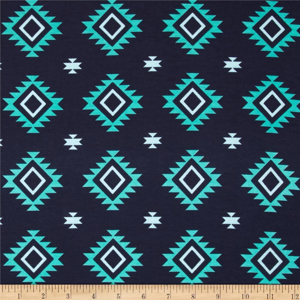 Riley Blake Aztec Jersey Knit Teal