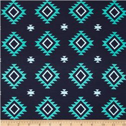 Riley Blake Stretch Cotton Jersey Knit Aztec Teal
