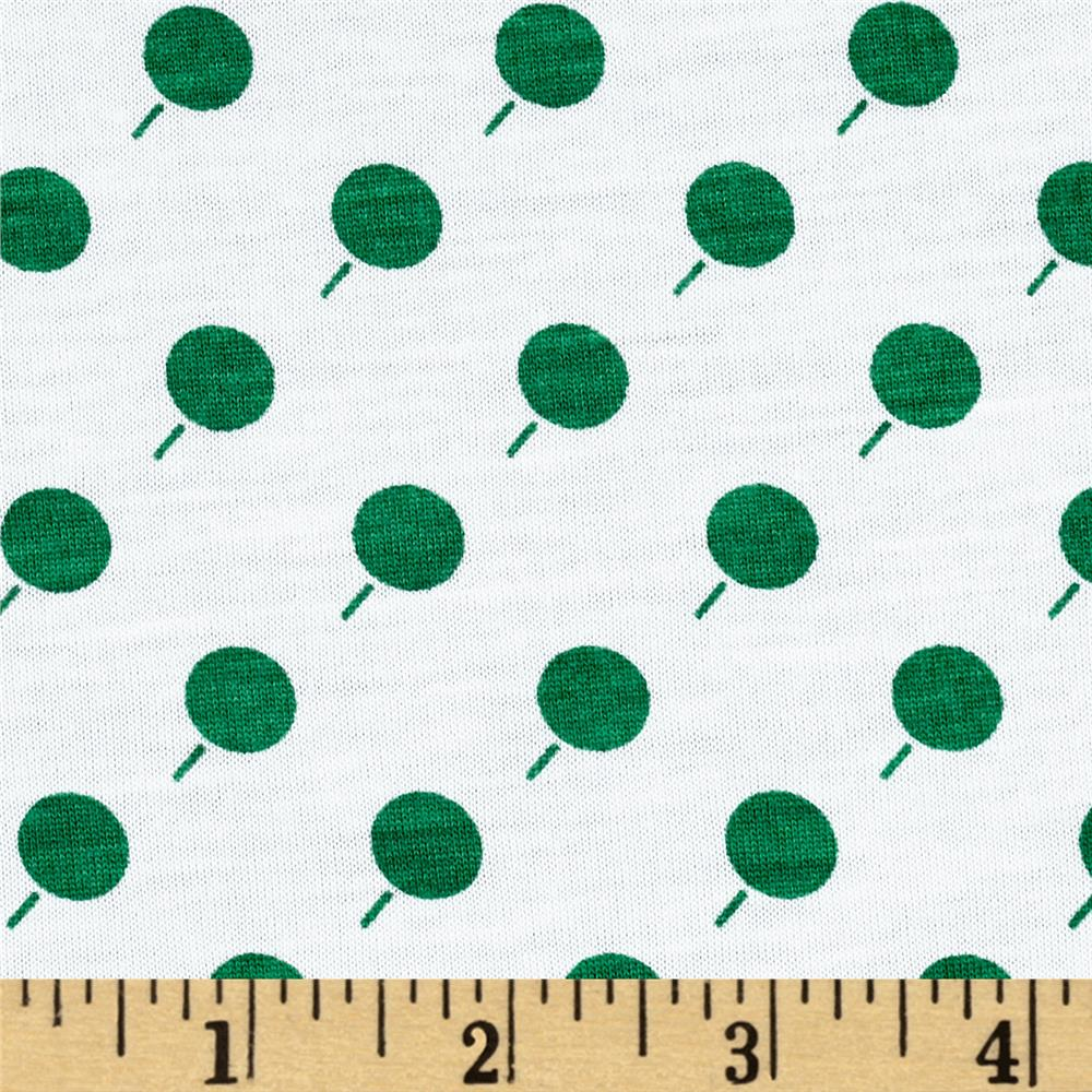 Soft Jersey Knit Mod Dots Green/Cream