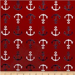 Michael Miller Minky Whales Anchors Straight Red