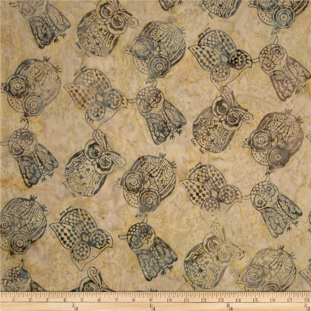 Timeless Treasures Tonga Batiks Owls Dune