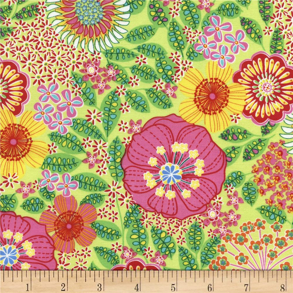 Timeless Treasures Tribeca Bright Floral Lime