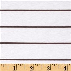 Stretch Cotton Jersey Knit Thin Stripe White/Brown