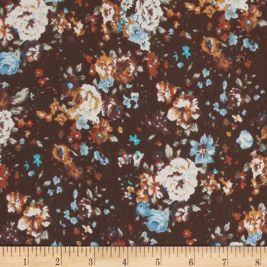 Chiffon Floral Brown/Blue