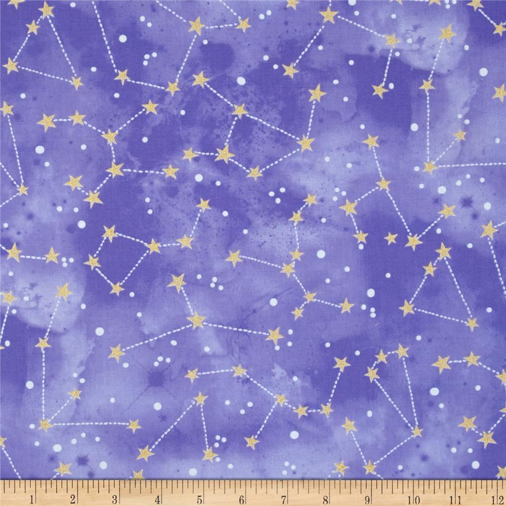 Michael Miller Moon & Stars Constellation Grape