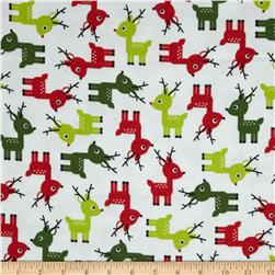 Kaufman Jingle Flannel Small Deer Ice