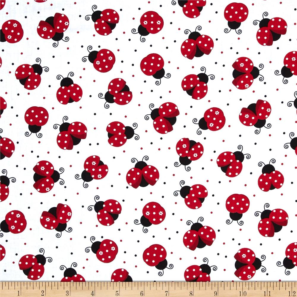 Timeless Treasures Ladybugs White