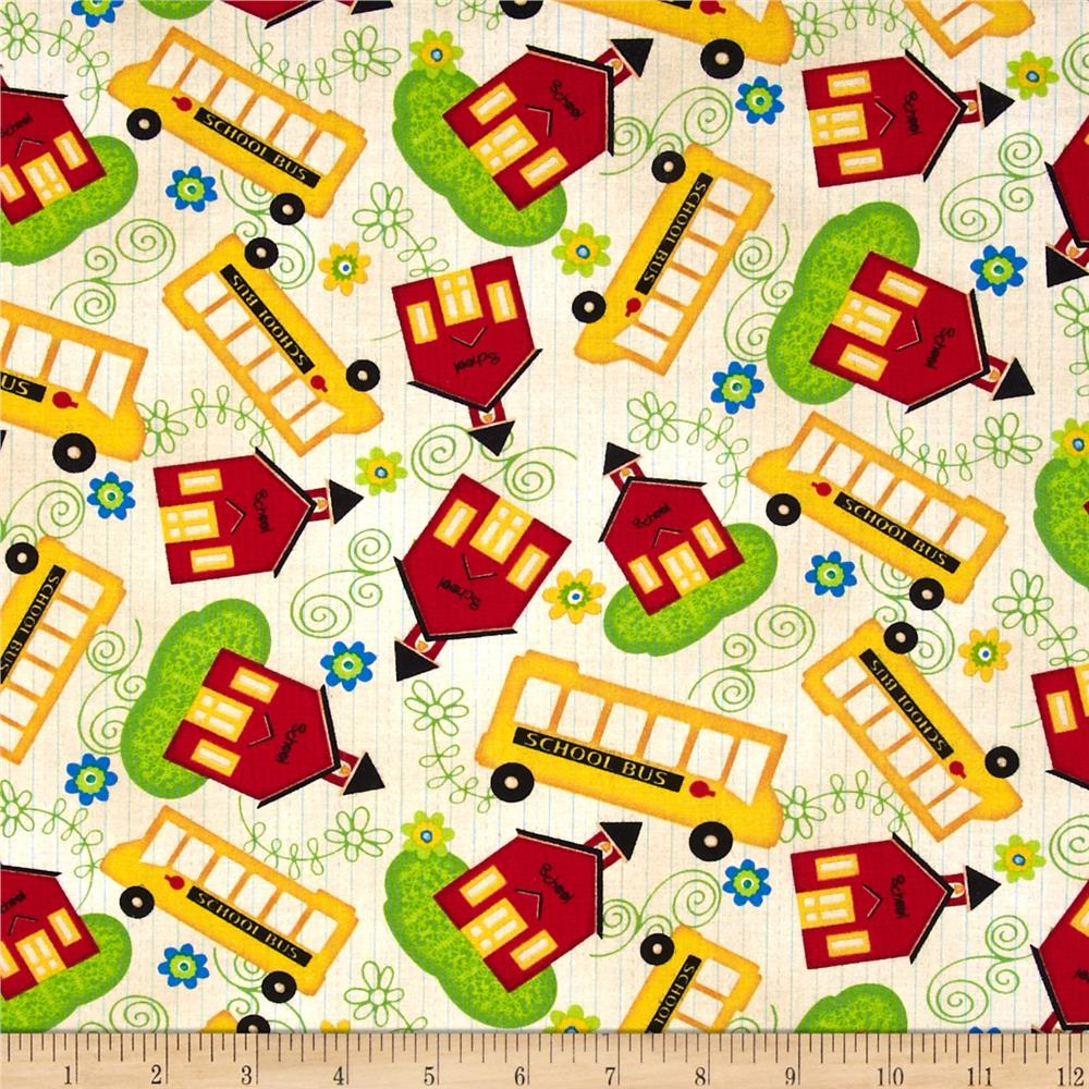 School Days School & School Bus Toss Ivory