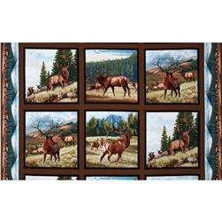 North American Wildlife Elk Panel Earth Brown Fabric