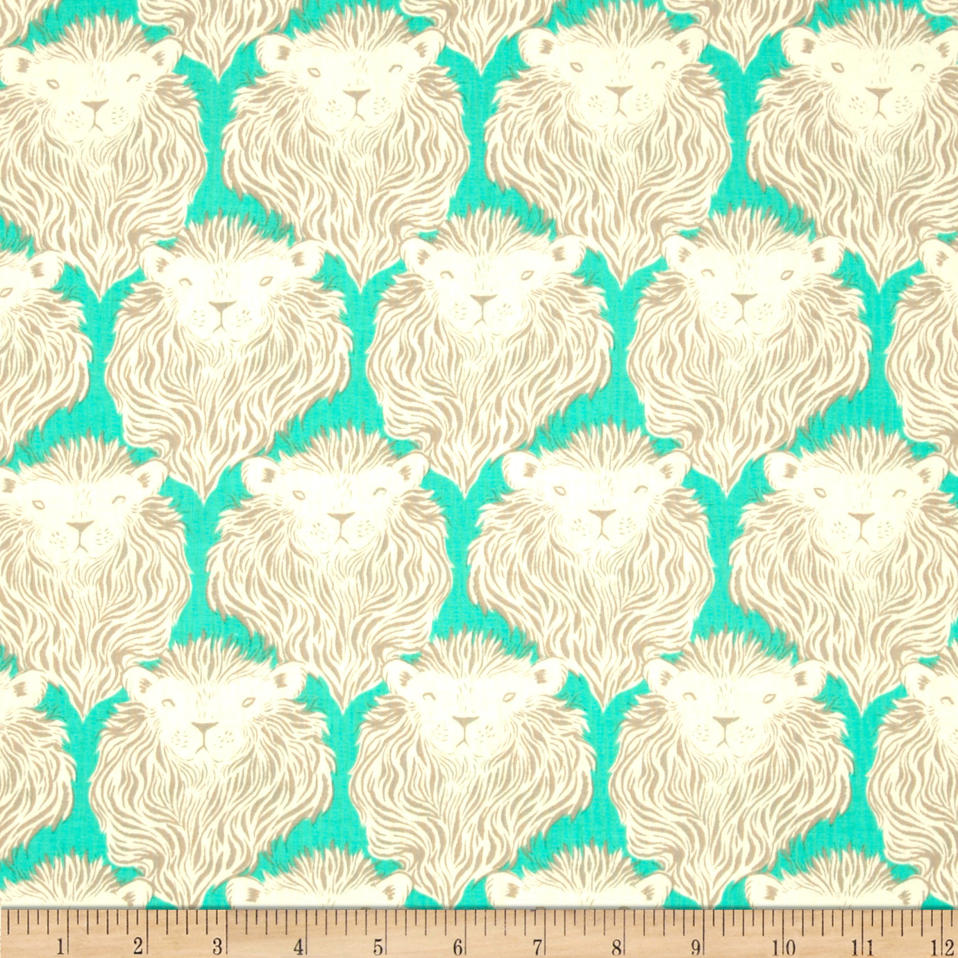 Cotton & Steel August Lion Teal Fabric By The Yard by Cotton & Steel in USA