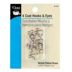Dritz Nickel Coat Hooks & Eyes 4/Package