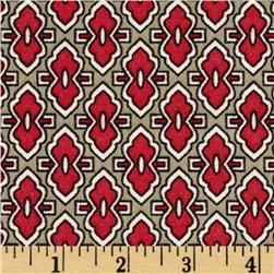 Rivera Crepe de Chine Moroccan Tile Red/Olive
