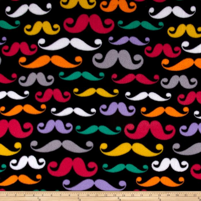 Retro Fleece Mustache  Black/Multi Fabric By The Yard