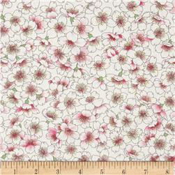 Moda Sakura Park Scattered Blooms Porcelain White