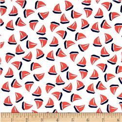 Michael Miller The Littles Little Sailboat Poppy Fabric