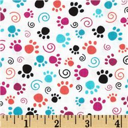 Purr-fect Balance Paw Print White Fabric