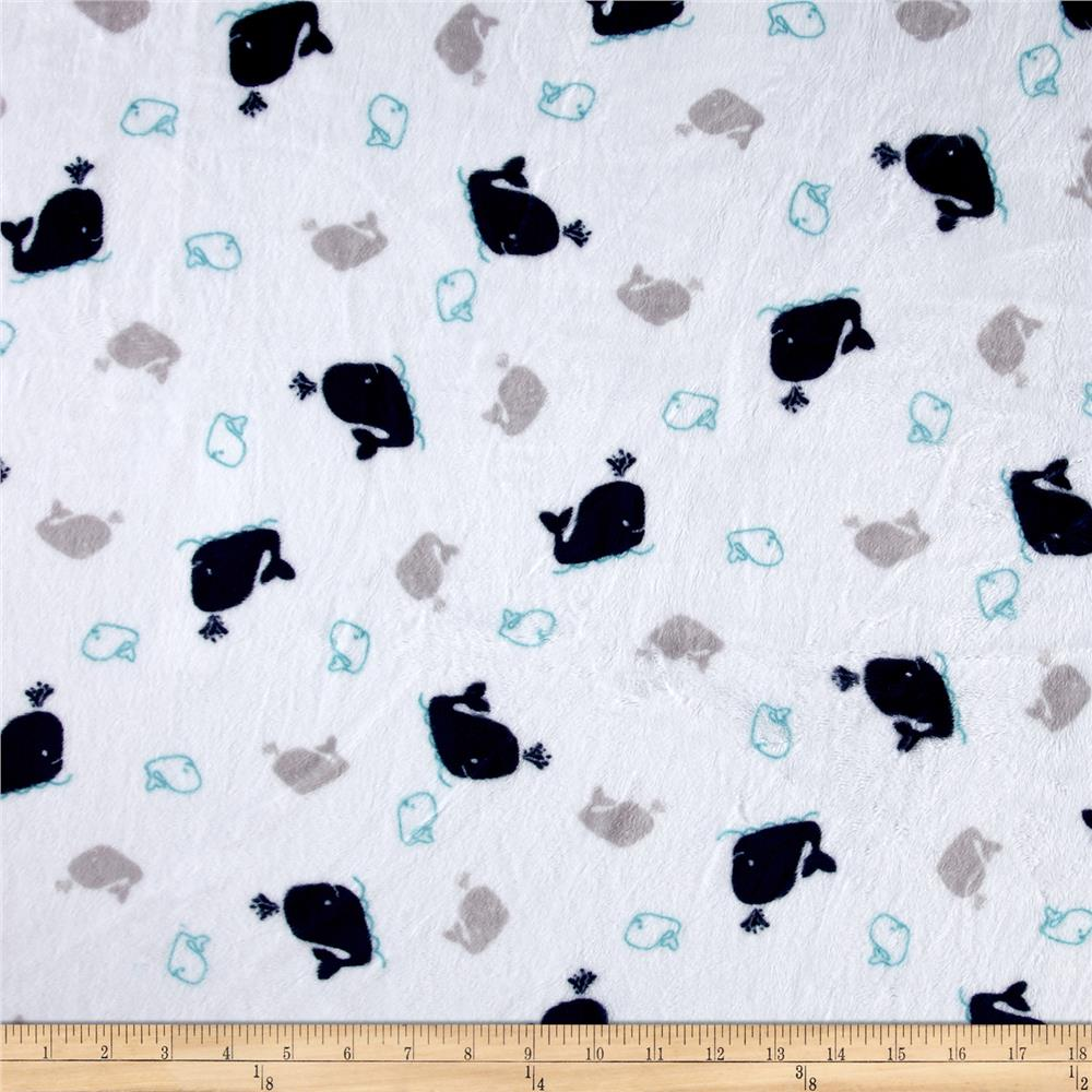 Shannon Minky Cuddle Prints Whales Navy